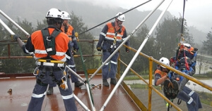 Saferight employees demonstrating rescue skills in group training session